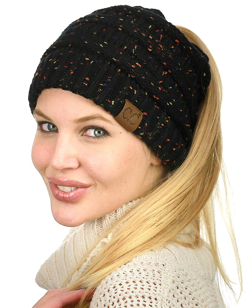 Messy Bun Knitted Beanie - Confetti Black  | Indie Boho Boutique