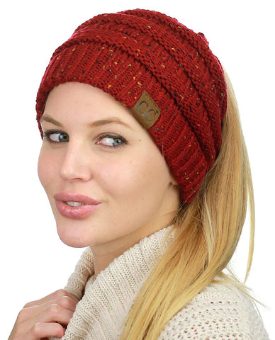 Messy Bun Beanie Ponytail Hat - Confetti Red | Indie Boho Boutique