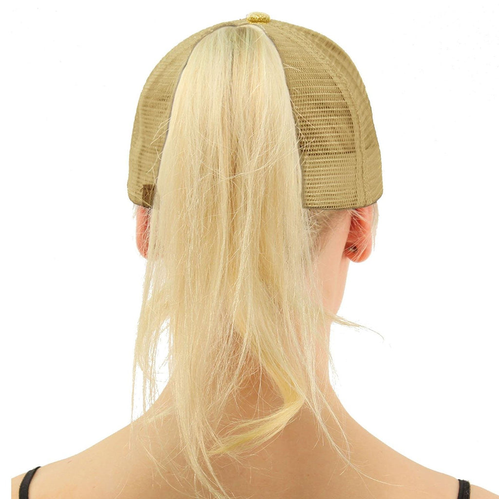 Messy Bun Baseball Hat Glitter Gold | Indie Boho Boutique