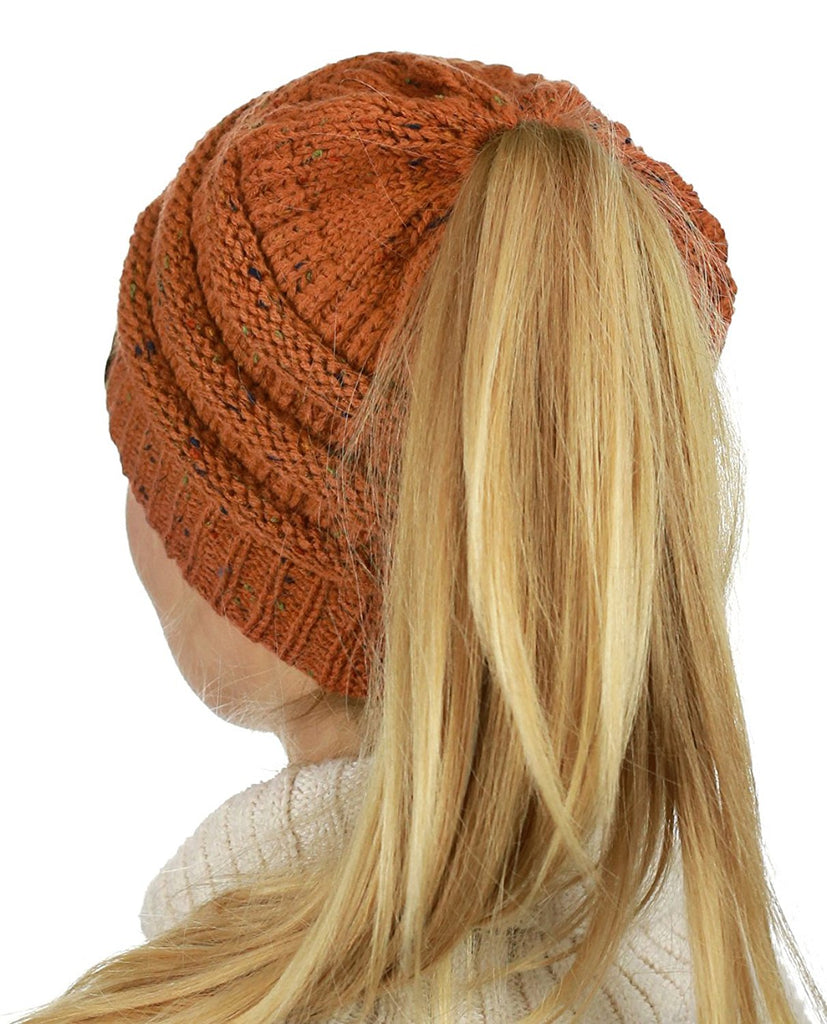 Messy Bun Knitted Beanie - Confetti Rust | Indie Boho Boutique