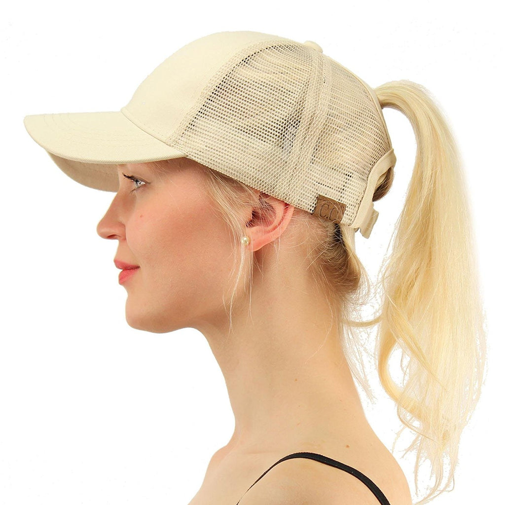 Messy Bun Baseball Hat Khaki | Indie Boho Boutique