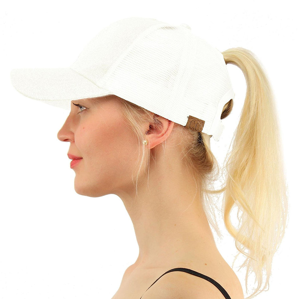 Messy Bun Baseball Hat White | Indie Boho Boutique