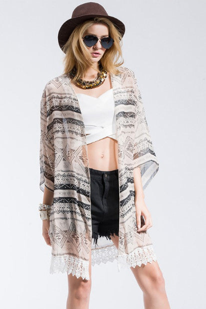 The Daisy 3/4 Sleeve Kimono-Women's Fashion-Indie Boho Boutique