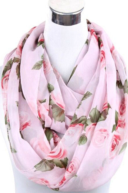 Thelma Rose Pattern Infinity Scarf (Champagne)-Accessories-Indie Boho Boutique