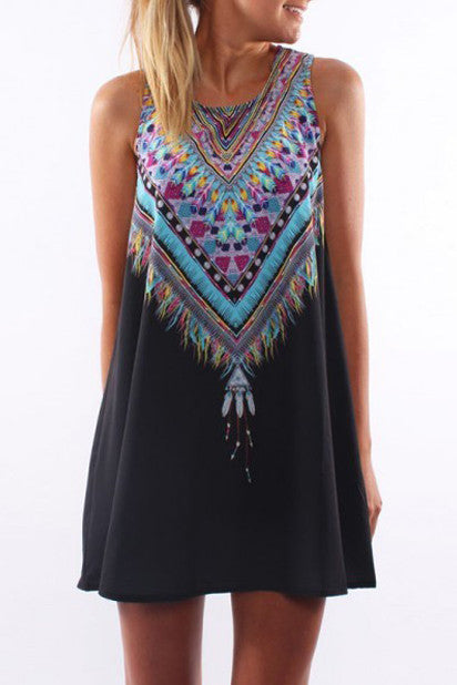 Vintage Gaban Print Mini Boho Dress (Black) - Indie Boho Boutique