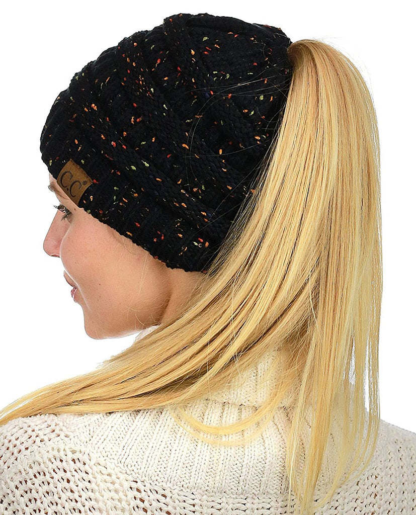 Messy Bun Beanie Ponytail Hat - Confetti Black | Indie Boho Boutique