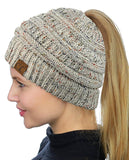 Messy Bun Beanie Ponytail Hat - Confetti Oatmeal Mix | Indie Boho Boutique