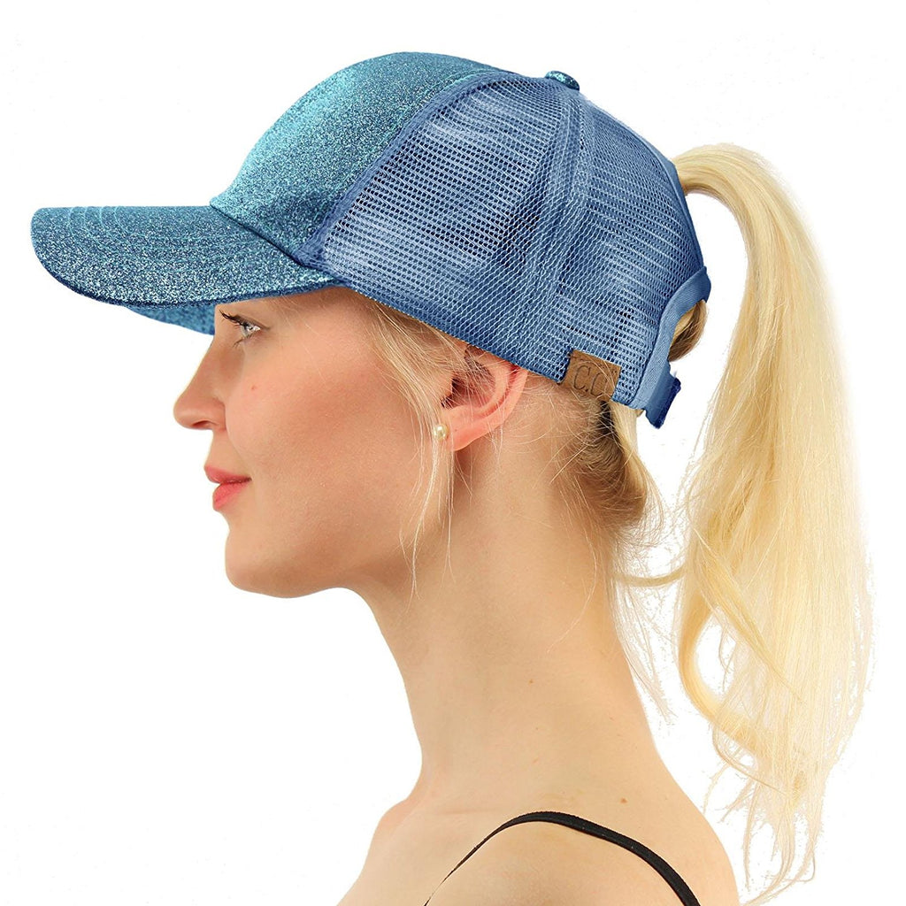 Messy Bun Baseball Hat Glitter Lake Blue | Indie Boho Boutique