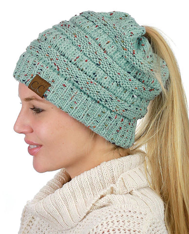 Messy Bun Beanie Ponytail Hat - Confetti Mint | Indie Boho Boutique