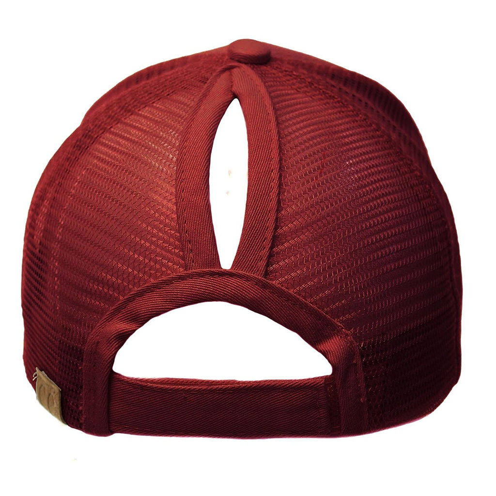 MESSY BUN BASEBALL HAT CABERNET RED | INDIE BOHO BOUTIQUE