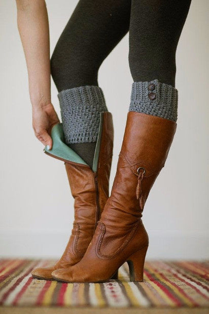 Knitted Boot Cuffs Button Up (More Colors To Choose From) - Indie Boho Boutique
