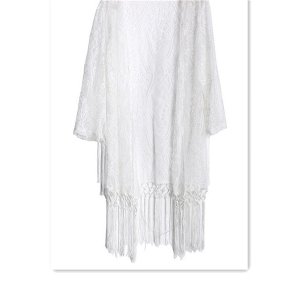 Lola Lily White Kimono Cardigan (Lace with Long Sleeve Tassels)-Women's Fashion-Indie Boho Boutique