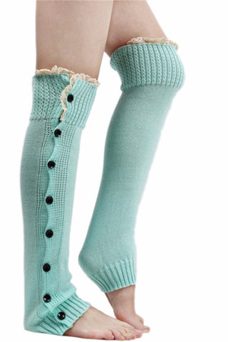 Olivia Knitted Button Barre Leg-Warmers (More Colors To Choose From) - Indie Boho Boutique