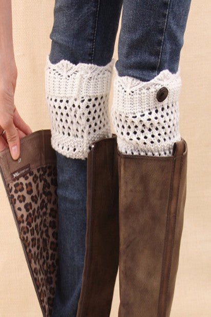 Knitted Boot Cuffs Button Up (More Colors To Choose From)-Women's Fashion-Indie Boho Boutique