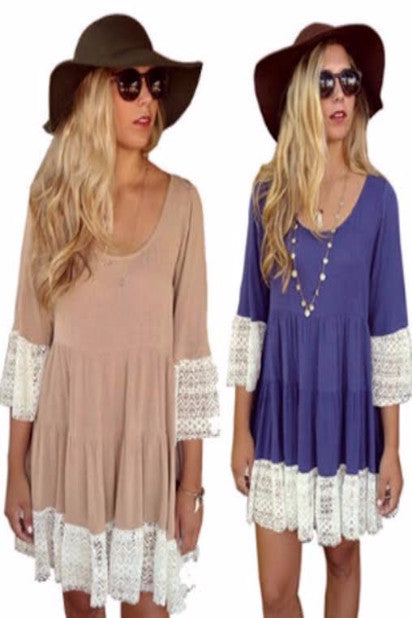 SPECIAL - Amber Half Sleeve Vintage Boho Dress (2 for $49.99!)
