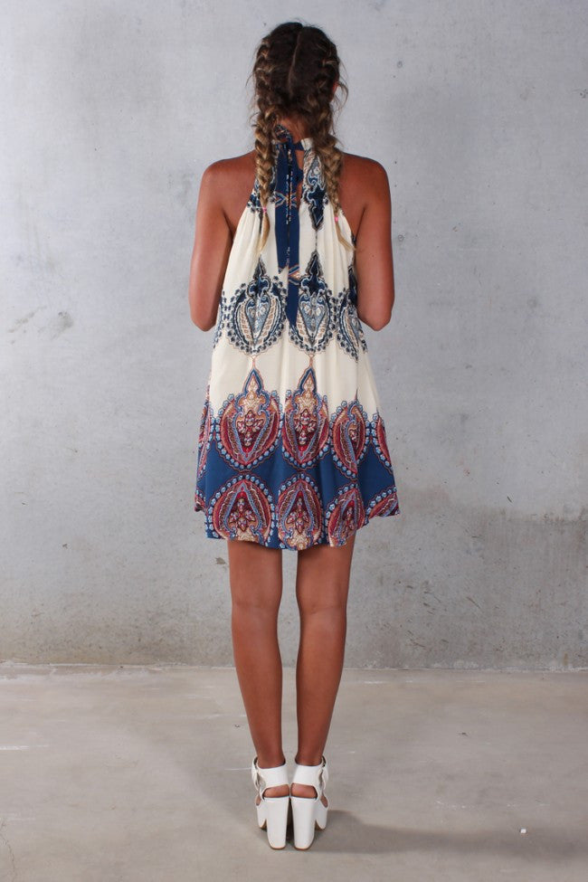 Hindi Boho Halterneck Self-Tie Summer Dress - Indie Boho Boutique