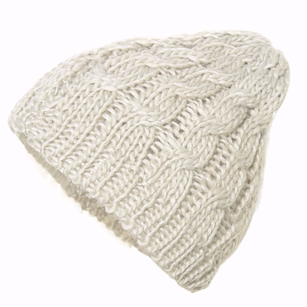 The Perfect Lace Knit Slouch Beanie (Beige)-Accessories-Indie Boho Boutique