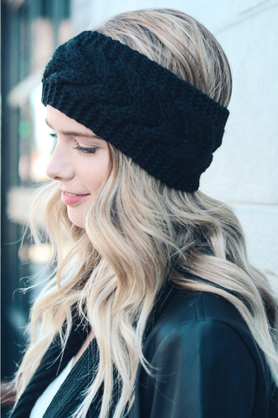 Knitted Turban Headband (Black)-Accessories-Indie Boho Boutique
