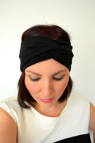Twin Twist Handmade Turban Headband In Berry & Rose