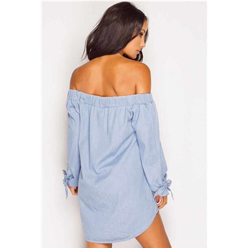 Vintage Off the Shoulder Boho Mini Dress (Bleached Denim)-Women's Fashion-Indie Boho Boutique
