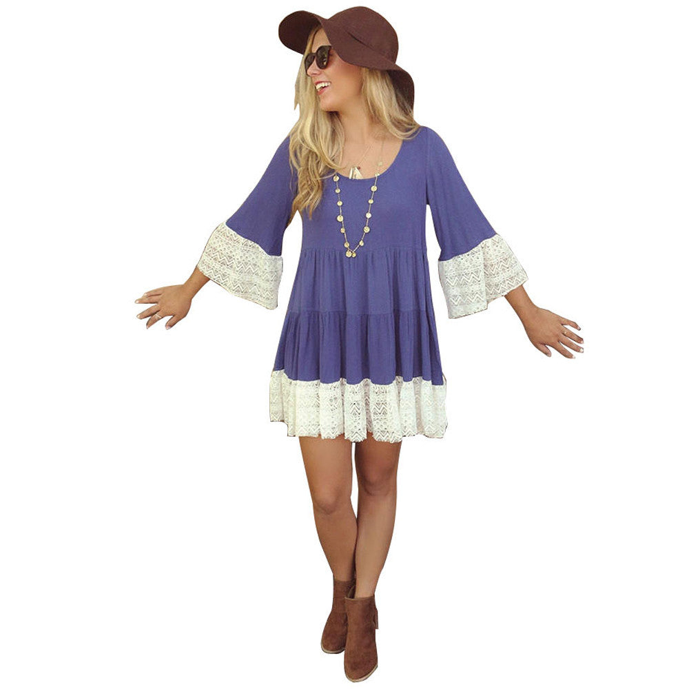 Amber Half Sleeve Vintage Boho Dress (Ocean Blue)-Women's Fashion-Indie Boho Boutique
