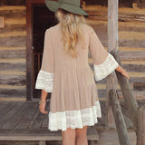 Amber Half Sleeve Vintage Boho Dress (Harvest Gold)-Women's Fashion-Indie Boho Boutique