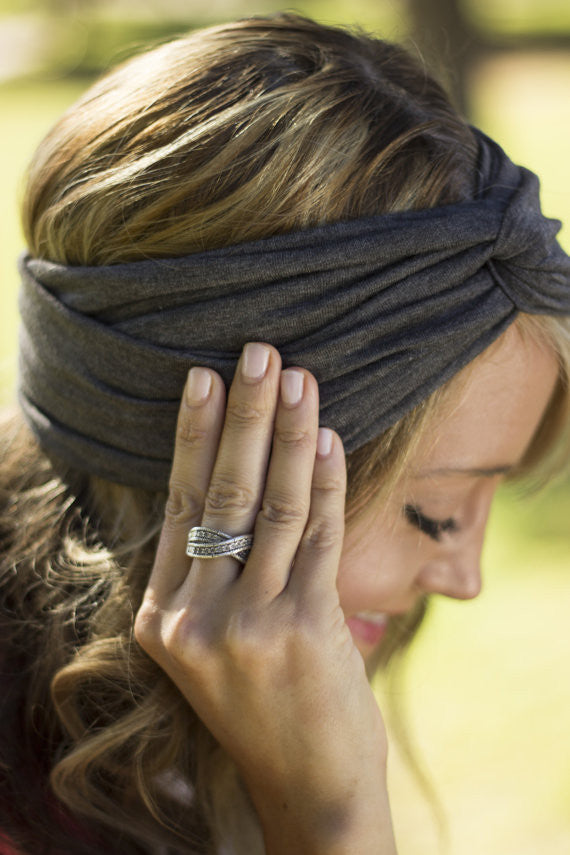 Moon Shadow Turban Headband (Charcoal)-Accessories-Indie Boho Boutique