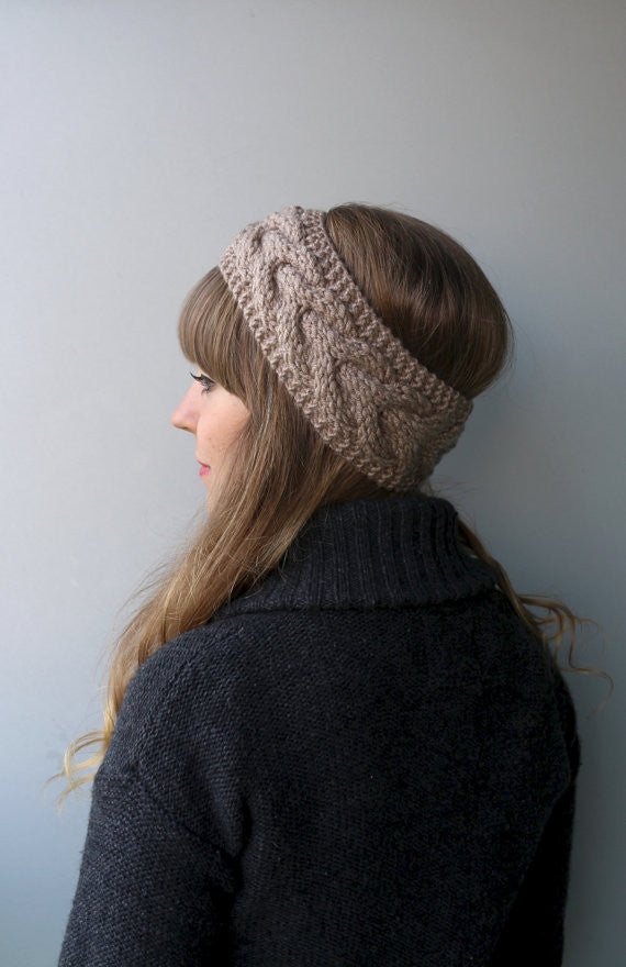 Knitted Turban Headband (Khaki)-Accessories-Indie Boho Boutique