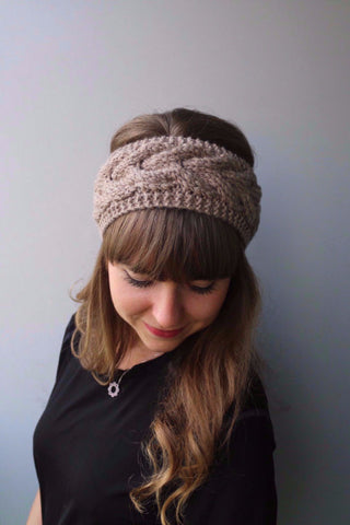Knitted Bow Headband (Taupe)