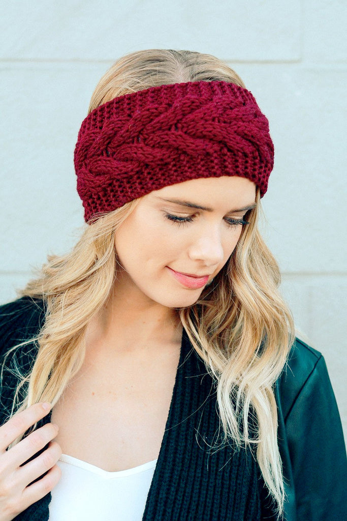 Knitted Turban Headband (Maroon)-Accessories-Indie Boho Boutique