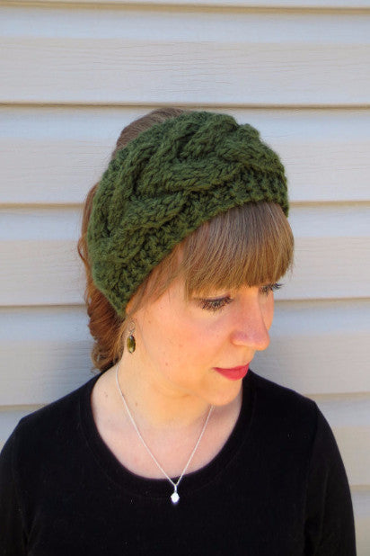 Knitted Turban Headband (Dark Olive) - Indie Boho Boutique