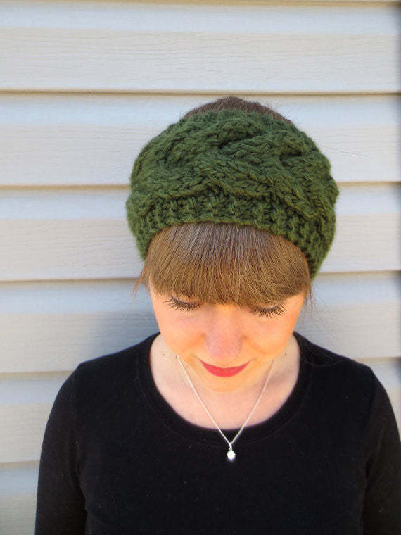 Knitted Turban Headband (Dark Olive)-Accessories-Indie Boho Boutique