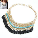 Hallyu Korean Tear Drop Bead Statement Necklace - Indie Boho Boutique