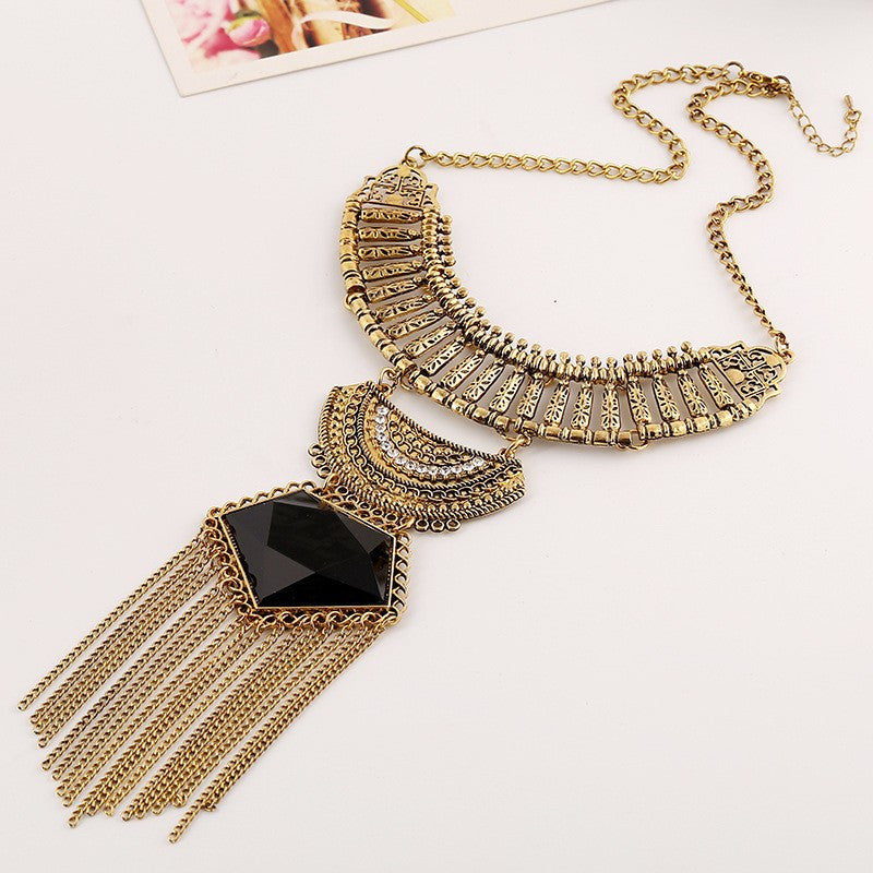 Cleopatra Maxi Tassel Statement Necklace-Jewelry-Indie Boho Boutique