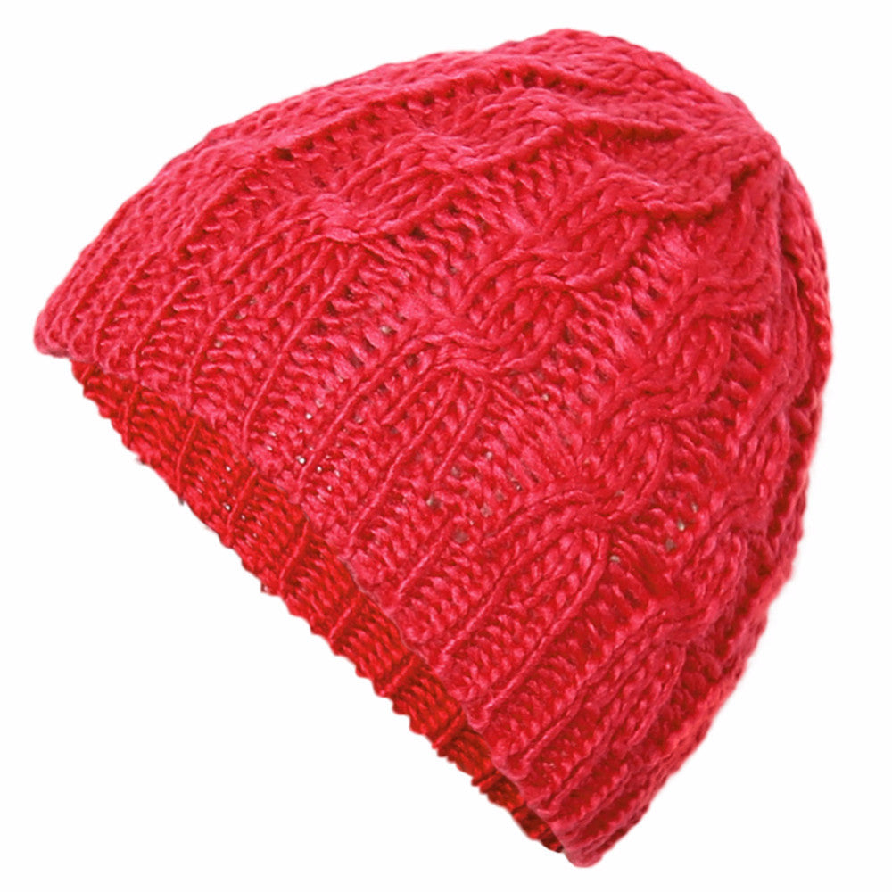 The Perfect Lace Knit Slouch Beanie (Cardinal Red) - Indie Boho Boutique