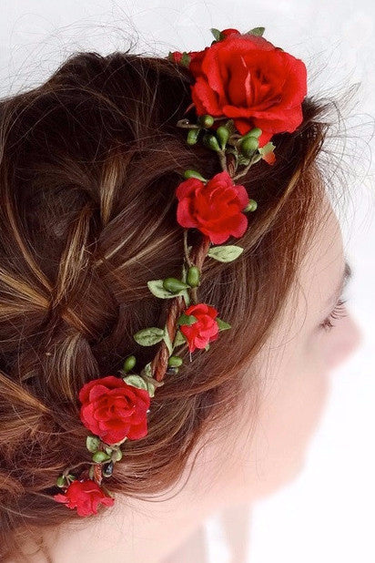 Pretty Petals Flower Crown Headband in Rose Red-Accessories-Indie Boho Boutique