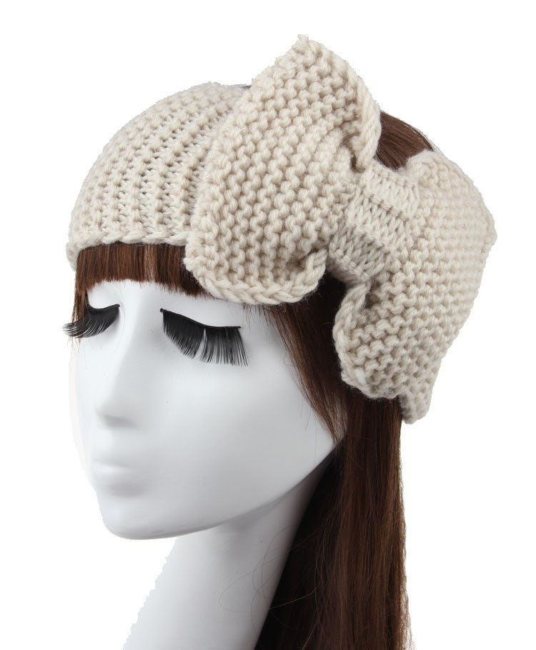 Knitted Bow Headband (Taupe) - Indie Boho Boutique