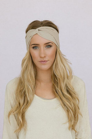 Twin Twist Handmade Turban Headband In White & Sky Blue