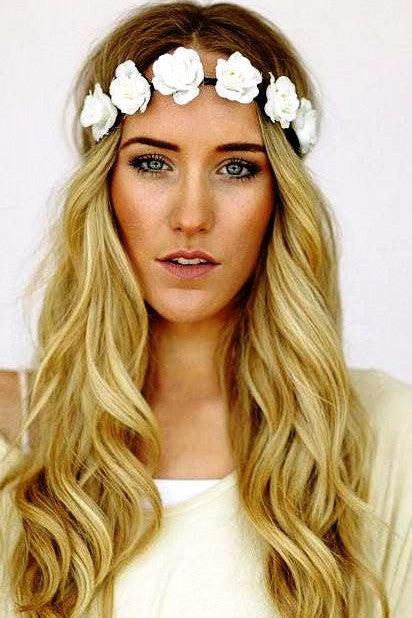 Pretty Petals Flower Crown Headband in Lily White-Accessories-Indie Boho Boutique