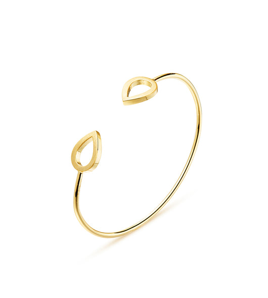Kaytie Wu Gold Brushed Water Drop Bangle - Fabulous Boutique Online