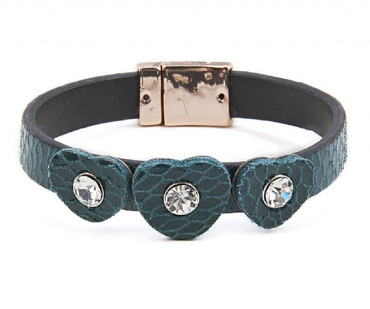 Blue heart leather bracelet - Fabulous Boutique Online