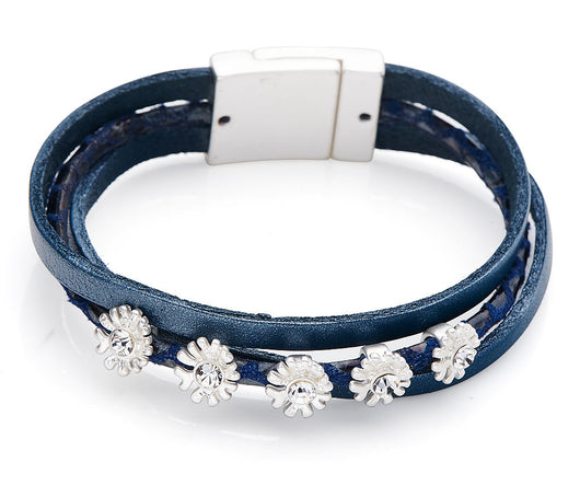 Blue triple strap leather bracelet with flower charms - Fabulous Boutique Online