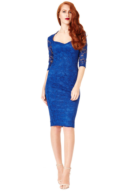 Sweetheart Neckline Lace Midi Dress with Sleeves - Fabulous Boutique Online