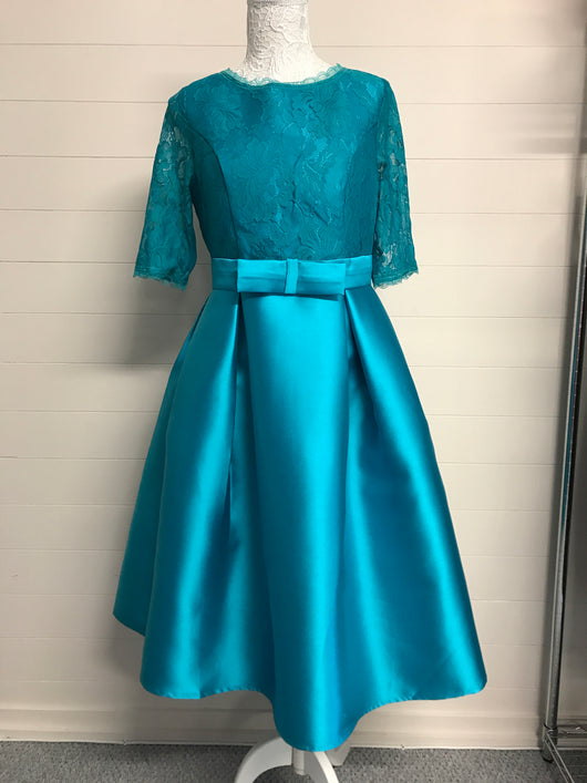Teal Lace and Satin Bow Prom Dress - Fabulous Boutique Online