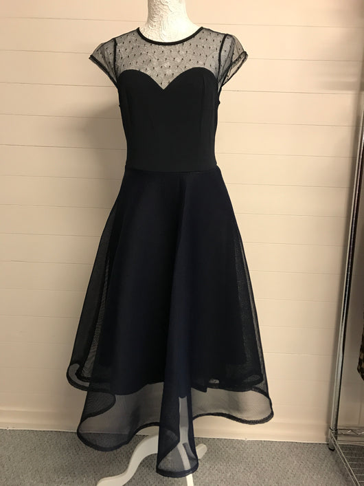 Navy Mesh Sweetheart Prom Dress - Fabulous Boutique Online