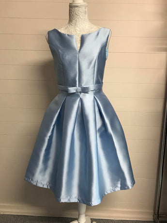 Baby Blue Satin Bow Prom Dress - Fabulous Boutique Online
