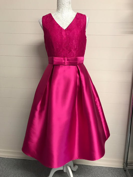 Pink Lace and Satin Bow Prom Dress - Fabulous Boutique Online