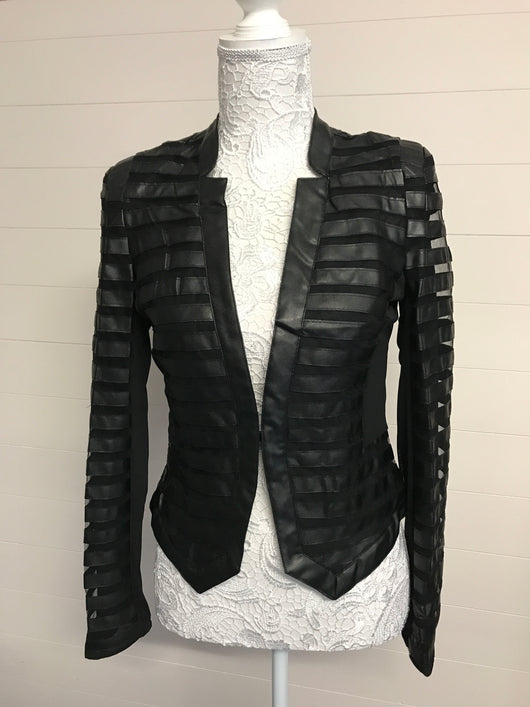 Black Mesh and Faux Leather Jacket - Fabulous Boutique Online
