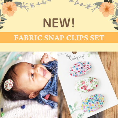 New! Floral Patterned Fabric Toddler Snap Clips