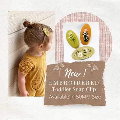 NEW FLORAL EMBROIDERED FABRIC SNAP CLIP FOR TODDLERS!